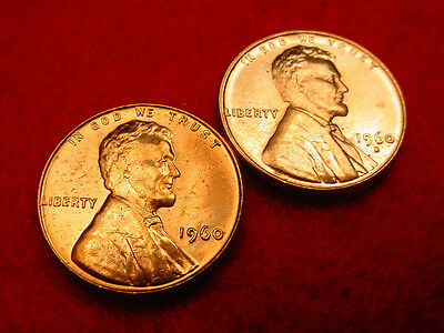 1960 P & D Small Date Lincoln Cents-2 Great Bu Coins!!!   #182**