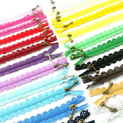 10pcs Sewing Nylon Lace Edge Trim Wedding Ribbon DIY Craft Clothes Puller Zipper