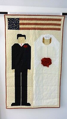 """Wedding Commemorative Quilted Wall Hanging Hand Made 26"""" X 42"""""""