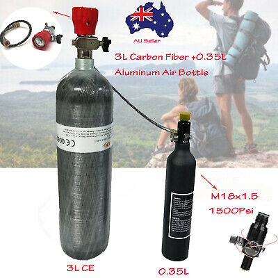 4500Psi 3L Tank Air Cylinder+0.35L Air Bottle W/Valve For Underwater Breathing