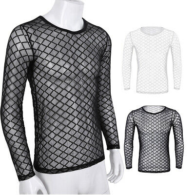 Men Mesh Fishnet Lingerie Shirts Long Sleeve T-Shirts Gym Sport Club Undershirt