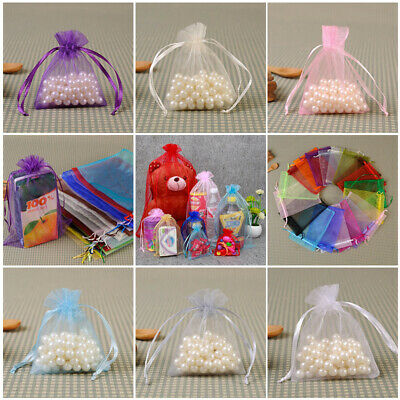 1-100PCS Small White Organza Bags Wedding Favour Pouches Gift Candy Bag 10X15cm