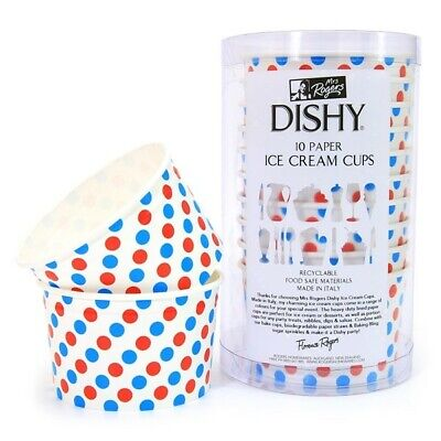 Dishy Italian Made Recyclable Paper Ice Cream Cups x 10 Blue & Red Dots