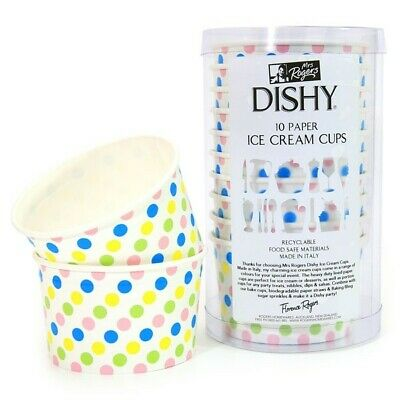 Dishy Italian Made Recyclable Paper Ice Cream Cups x 10 Multi Coloured Dots