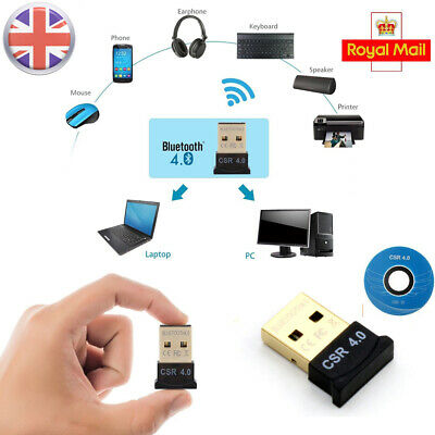 USB Bluetooth V4.0 CSR Wireless Dongle Adapter For Windows 7/8/10 PC Laptop 20M