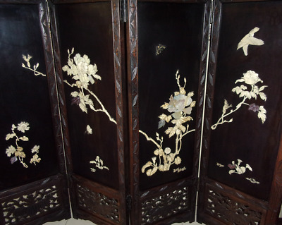 Large Vintage Carved Wood Firescreen ~ Folding Victorian Antique Mother of Pearl