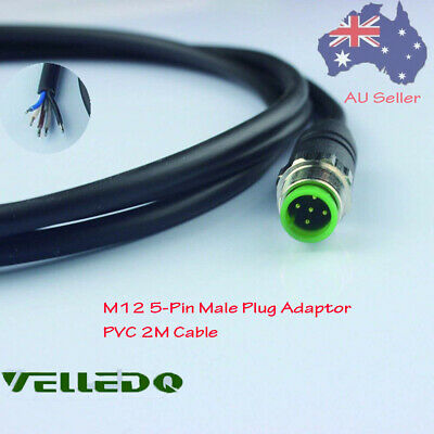 VELLEDQ M12 5-Pin Male With 2M PVC Cable Adaptor For Circular Hole Interface AU