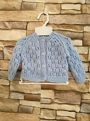 Dream 0-3 Months Baby Girl Hand Knitted Blue Cardigan Or Reborn Dolls