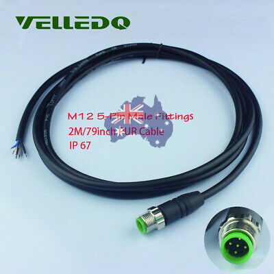 VELLEDQ M12 Male 5-Pin Sensor Connector IP67 W/2M PUR Cable Black For Splitters