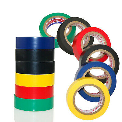 6 ROLLS 8M x 19MM ELECTRICIANS ELECTRICAL PVC INSULATING TAPE IN MIXED COLOURS