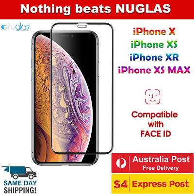 iPhone X XS Max XR Full Coverage Tempered Glass Screen Protector Genuine NUGLAS