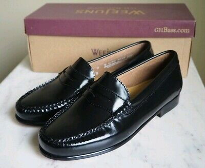 e2896e4eab2 Women s GH Bass Co Weejuns Diane Loafers Shoes Size 8W Black Leather New In  Box