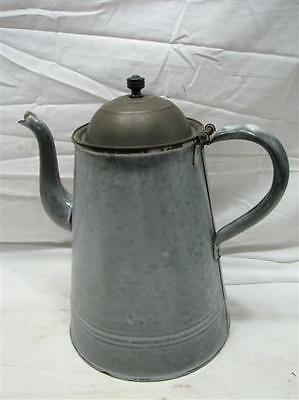 Early Primitive Gray Agate Enamel Ware Coffee Pot Pitcher Camping Fire w/Lid