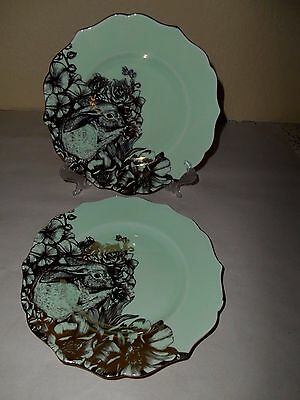 222 FIFTH Garden Playtime Bunny Rabbit 4 Salad Plate Green Gold Metal Easter