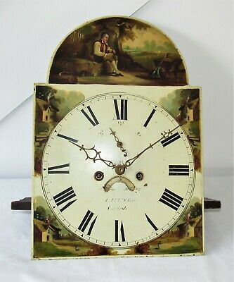 English Antique Arched 8 Day Grandfather Clock Movement & Dial. Hand Painted