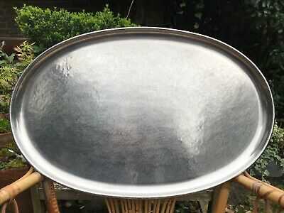 Keswick School Industrial Arts KSIA Firth Large Oval Staybrite Hammered Tray.