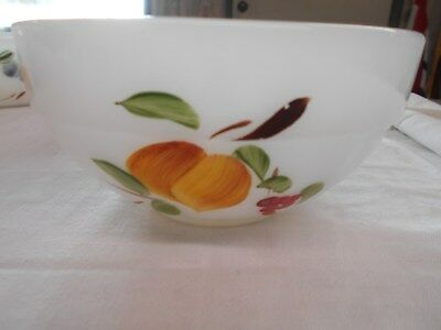vintage Gay Fad Fire-King banded small mixing bowl fruit design