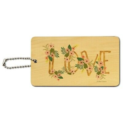 Love and Flowers Wood Luggage Card Suitcase Carry-On ID Tag