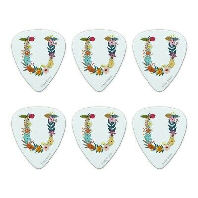 Letter U Floral Monogram Initial Novelty Guitar Picks Medium Gauge - Set of 6