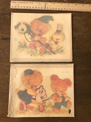 Lot of 2 RARE Vintage Meyercord Decals 429-A & B  Nursery Chicks (new old stock)