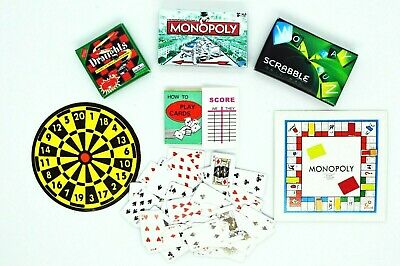 Dolls House Miniature Board Games Cards Scrabble Darts Draughts Little Snowdrop
