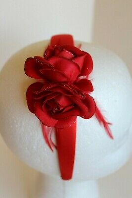 Red Ladies Headband/Headpiece With Red Roses & Red Feathers