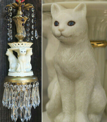 Ivory Porcelain Cat Swag Lamp Chandelier brass tole purple Beads crystal prisms