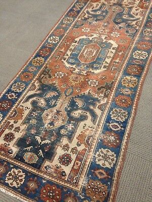 Tribal pre 1900 Antique Persian Serapi Bakhshayesh Area rug 4' x 9'.5 Old runner