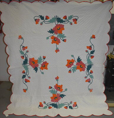 Antique Poppy Applique Quilt, Shades of Solid Orange and Green, #18454