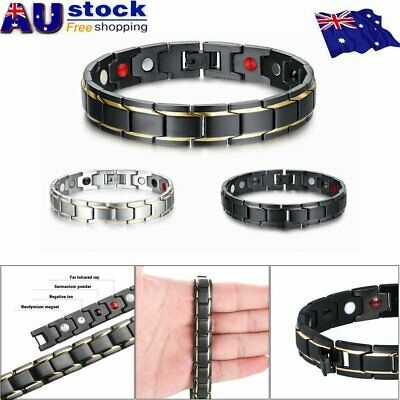 Therapeutic Energy Healing Bracelet Stainless Steel Magnetic Therapy Bracelet !R