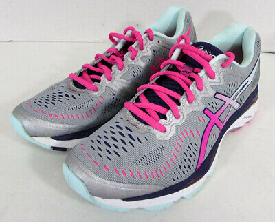 new product 733f6 019c7 $160 ASICS WOMENS GEL-Kayano 23 Running Sneakers, Silver/Pink Glow/Purple,  US 8