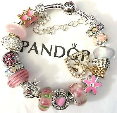 "Authentic Pandora Sterling Bracelet European Charms  7.5 ""Love with Heart Pink"""