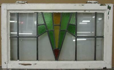 "MID SIZE OLD ENGLISH LEAD STAINED GLASS WINDOW Pretty Geometric 25.75"" x 15.25"""