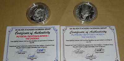 PHOENIX & DRAGON UK Silver Stackers 1oz Silver Round Coin Mythical Creatures