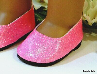 """HOT PINK /""""Sparkle/"""" Slip-On BALLET FLATS DOLL SHOES fits 18/"""" AMERICAN GIRL DOLL"""