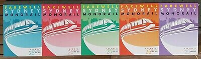 FAREWELL Sydney MONORAIL Australia 5 POSTCARDS after 25 years 1988-2013