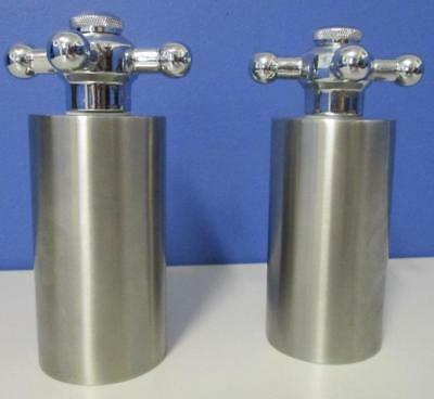 Pair of Quirky TAP Salt & Pepper Grinders Stainless Steel & Chrome Novelty Exclt