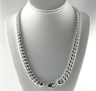 "Heavy 10mm Solid 925 Sterling Silver Miami Cuban Link Curb Chain 24"" 30"" Italy"