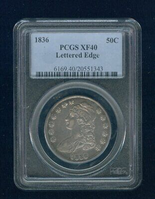 1836-P Capped Bust Silver Half Dollar 50C PCGS XF 40 Type 1, Lettered Edge