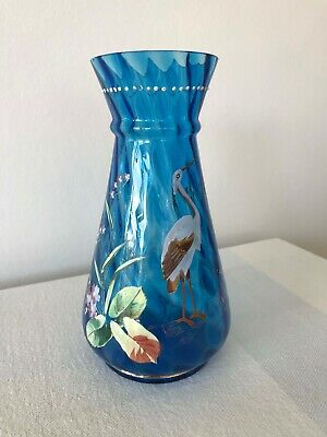 Victorian Hand-Painted Blue Glass Vase