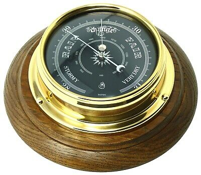 Handmade Prestige Barometer With Jet Black Dial Mounted on an English Oak mount