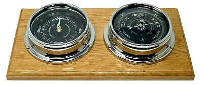 Handmade Prestige Traditional Barometer and Tide Clock in Chrome, Mounted on Oak