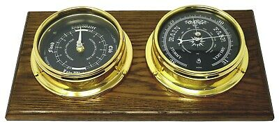 Prestige solid Brass Barometer and Tide Clock, Mounted on Dark English Oak