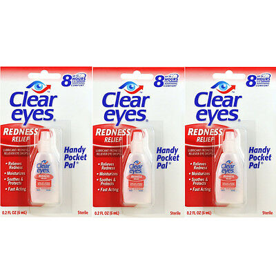 3 Pack Clear Eyes Redness Relief Pack of 3 0.2 FL OZ ( 6 ml) - Handy Pocket Pack