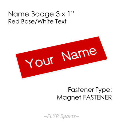 "Name Badge Tag Plate Red/White Magnet 3x1"" Personalised Engraved Customised E..."