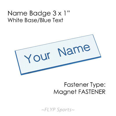 "Name Badge Tag Plate White/Blue Magnet 3x1"" Personalised Engraved Customised ..."