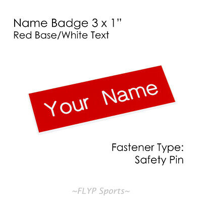"""Name Badge Tag Plate Red/White Safety Pin 3x1"""" Personalised Engraved Customis..."""