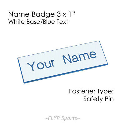 """Name Badge Tag Plate White/Blue Safety Pin 3x1"""" Personalised Engraved Customi..."""