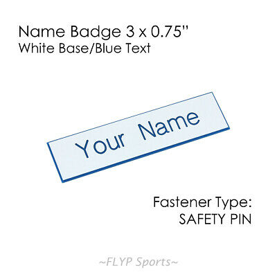 """Name Badge Tag Plate White/Blue Safety Pin 3x0.75"""" Personalised Engraved Cust..."""
