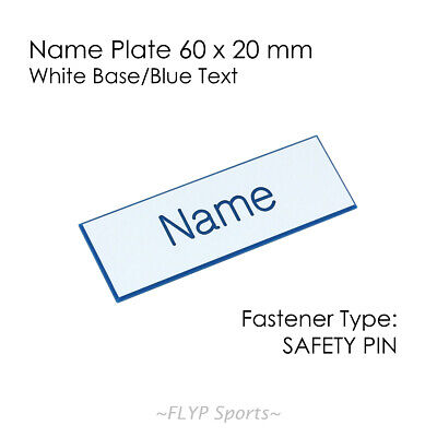 Name Badge Tag Plate White/Blue Safety Pin 6x2cm Personalised Engraved Employee